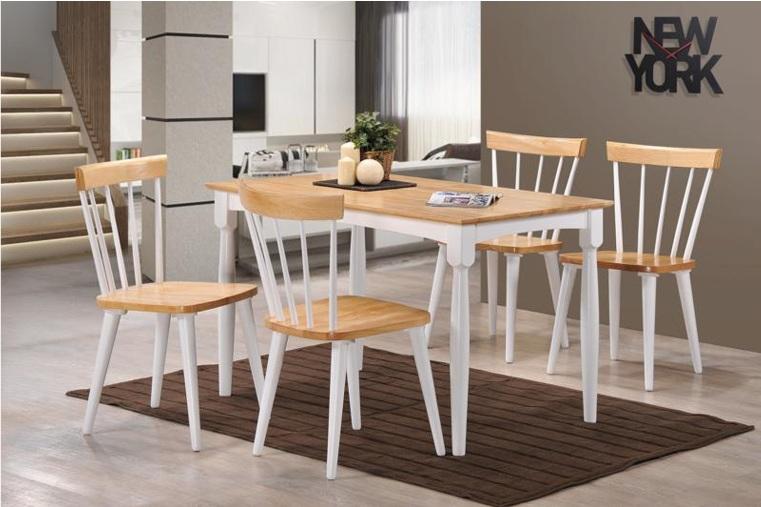 Juego de comedor auxiliar estilo vintage en madera para for Estilos de sillas para comedor