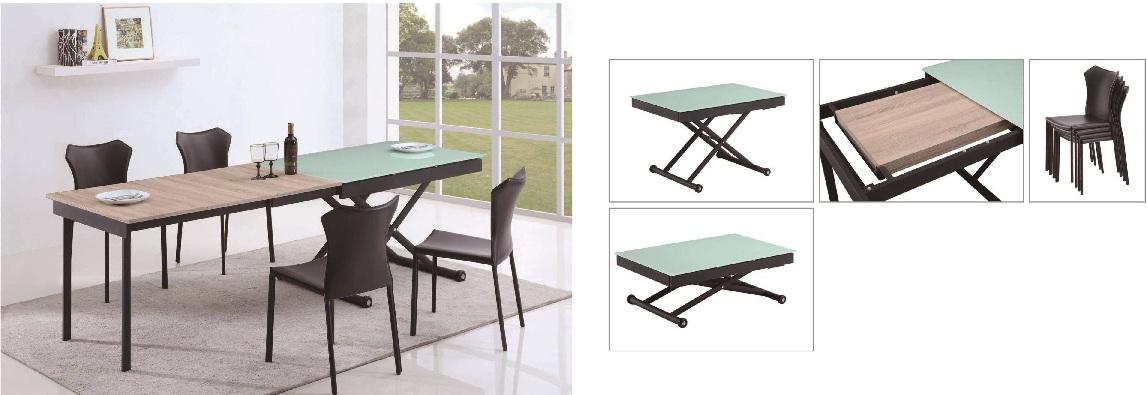 Juego de mesa en aluminio madera y vidrio templado for Diseno de mesa de madera con vidrio