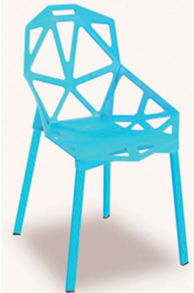 Silla en pl stico color azul claro con espaldar en dise o for Sillas plastico diseno