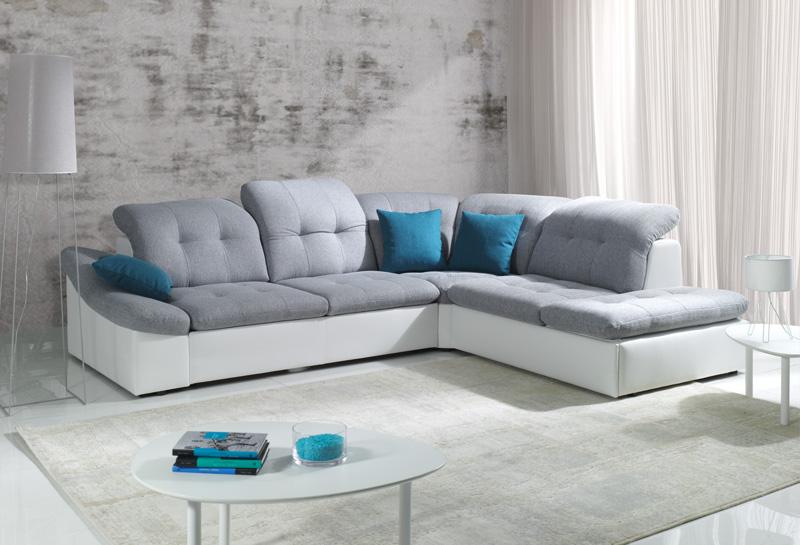 Sof en l blanco y gris expos adecuaci n de locales for Sofa gris y blanco